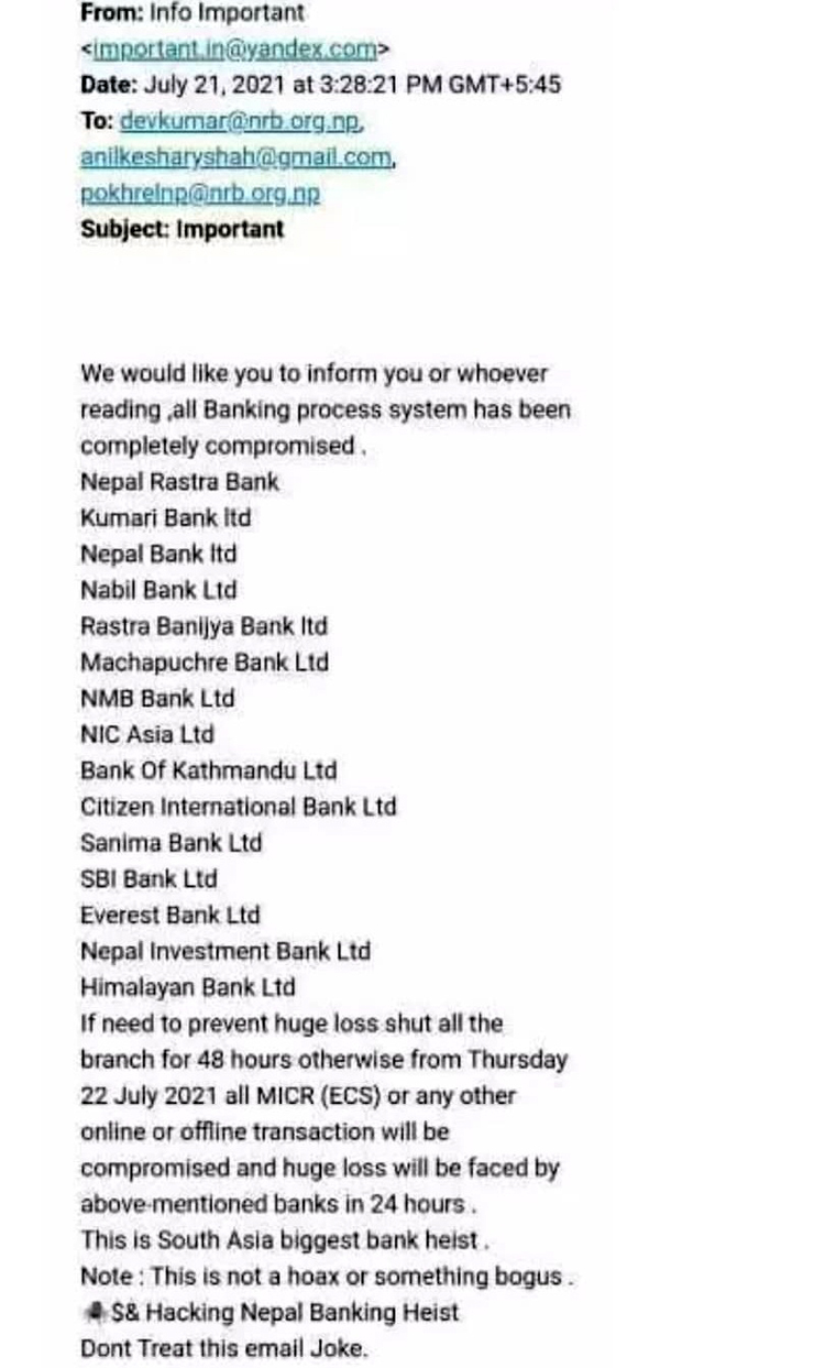 १५ वटा बैंकको प्रणाली ह्याक गरेर पैसा चोर्ने धम्की, आतंकित नहुन राष्ट्र बैंकको thumbnail